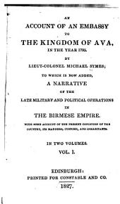 An account of an embassy to the kingdom of Ava: Volume 1