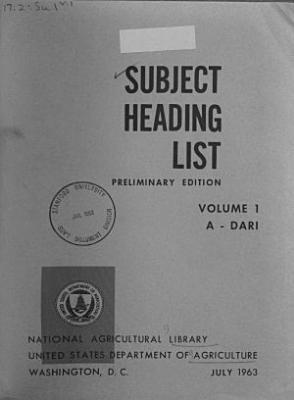 Subject Heading List, Preliminary Edition