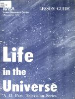 Life in the Universe  a 13 Part Television Series PDF