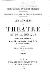 Les Annales du théâtre et de la musique: Volume16
