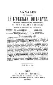 Annales des maladies de l'oreille, du larynx, du nez et du pharynx: Volume6