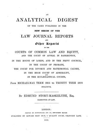 An Analytical Digest of the Cases Published in the New Series of the Law Journal Reports and Other Reports PDF