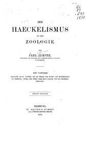 Der Haeckelismus in der Zoologie
