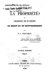 Qu'est-ce que la propriété ? Ou recherches sur le principe du droit et du gouvernement