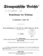 Verhandlungen: Stenographische Berichte