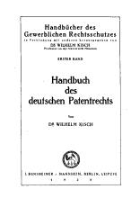 Handbuch des deutschen Patentrechts PDF