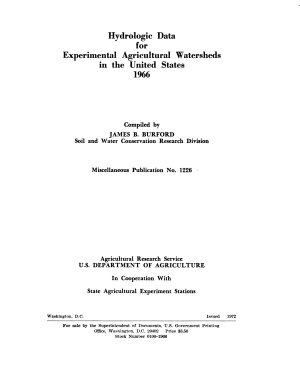 Hydrologic Data for Experimental Agricultural Watersheds in the United States  1966 PDF