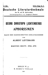 Georg Christoph Lichtenbergs Aphorismen: Heft. 1764-1771