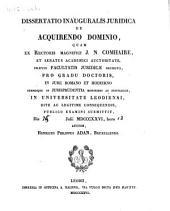 Dissertatio inauguralis juridica de acquirendo dominio