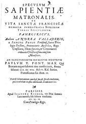 Speculum Sapientiae matronalis ex vita S. Franciscae Romanae