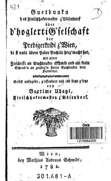 Guetdunkn des Fleischhakermaster z V  sendorf   ber d hoglerti G selschaft der Predigerkridi z Wien PDF