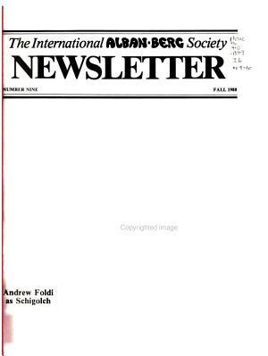 Newsletter   International Alban Berg Society PDF