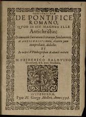 Orationes duae de Pontifice romano: quod is sit magnus ille Antichristus ...