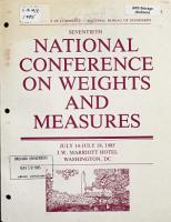 Report of the     National Conference on Weights and Measures PDF
