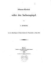 Johannes Klenkok wider den Sachsenspiegel
