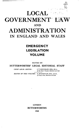 Local government law and administration in England and Wales PDF