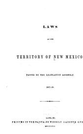 Laws of the Territory of New Mexico: Passed by the Legislative Assembly, 1857-58