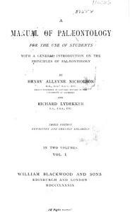 A Manual of Palaeontology    PDF