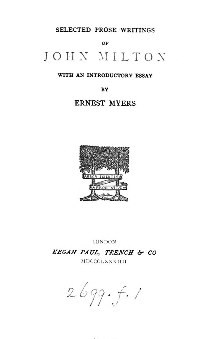 Selected prose writings, with an intr. essay by E. Myers