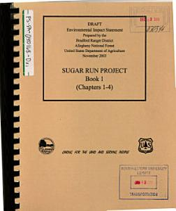 Allegheny National Forest  N F    Sugar Run Project Book