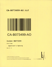 California. Court of Appeal (2nd Appellate District). Records and Briefs: B073499, Appellant's Opening