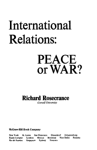 International Relations  Peace Or War  Book