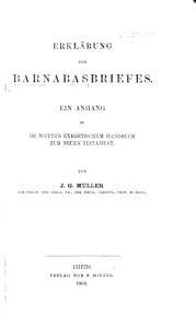 Erkl  rung des Barnabasbriefes  Ein Anhang zu de Wette s exegetischem Handbuch zum Neuen Testament PDF