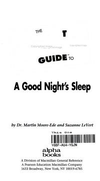 The Pocket Idiot s Guide to a Good Night s Sleep