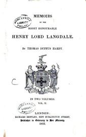 Memoirs of the Right Honourable Henry Lord Langdale: Volume 2