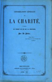 Considérations générales sur la charité à propos du projet de loi qui le concerne