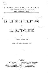 La loi du 22 juillet 1893 sur la nationalité