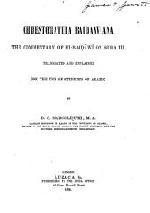 Chrestomathia Baidawiana: The Commentary of El-Baidāwi on Sura III, Volume 47; Volume 139