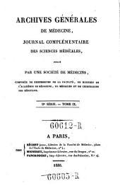 Archives generales de medecine: Volume2;Volume9