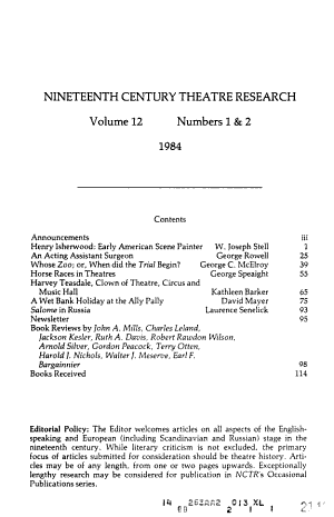 Nineteenth Century Theatre Research PDF