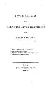 Untersuchungen zur Kritik des Alten Testaments: Bände 1-4