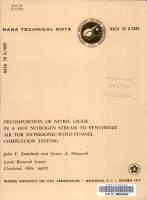 Decomposition of Nitric Oxide in a Hot Nitrogen Stream to Synthesize Air for Hypersonic wind tunnel Combustion Testing PDF