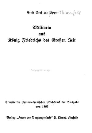 Militaria aus K  nig Friedrichs des Grossen Zeit PDF