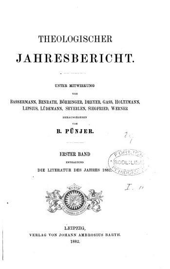 Theologischer Jahresbericht  unter Mitwirkung von Bassermann  and others  herausg  von B  P  njer PDF