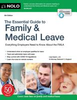 The Essential Guide to Family   Medical Leave PDF