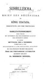 Suhṛllekha: brief des Nāgārjuna an könig Udayana