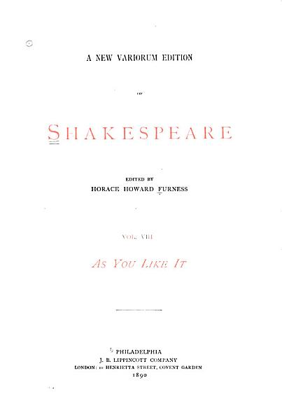 A New Variorum Edition of Shakespeare  As you like it  1890 PDF
