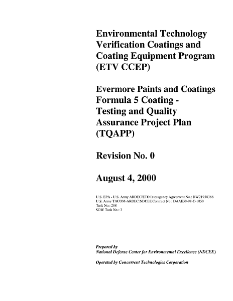 Download ETV CCEP Evermore Paints   Coatings Formula 5 Coating Testing   Quality Assurance Project Plan  TQAPP  Book