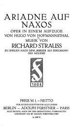 Ariadne auf Naxos: Oper in einem Aufzuge von Hugo von Hofmannsthal : Musik