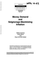 Money Demand and Seigniorage-maximizing Inflation: Volume 1049