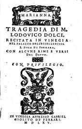 MARIANNA, TRAGEDIA DI M. LODOVICO DOLCE