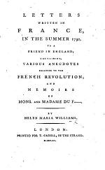 Letters Written in France, in the Summer 1790, to a Friend in England