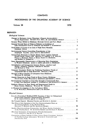 Proceedings of the Oklahoma Academy of Science