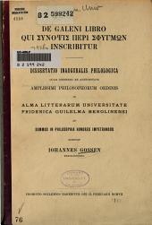 De Galeni libro qui Synopsis peri sphygmōn inscribitur
