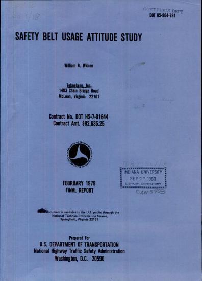 Safety Belt Usage Attitude Study PDF