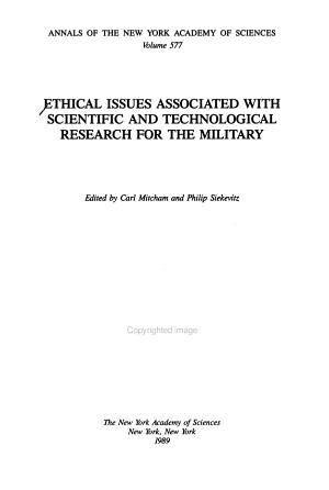 Ethical Issues Associated with Scientific and Technological Research for the Military